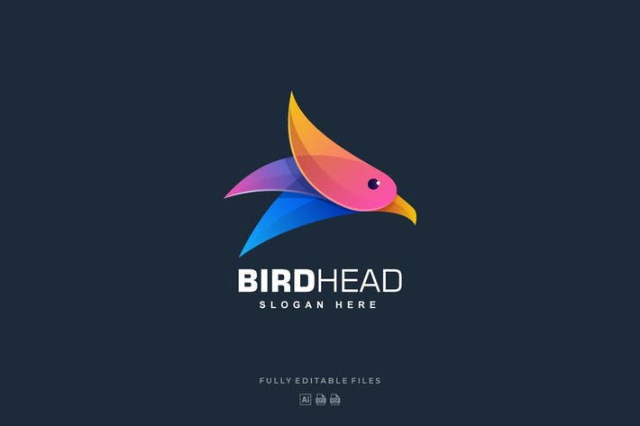 Thumbnail for Bird Head Gradient Colorful Logo Template