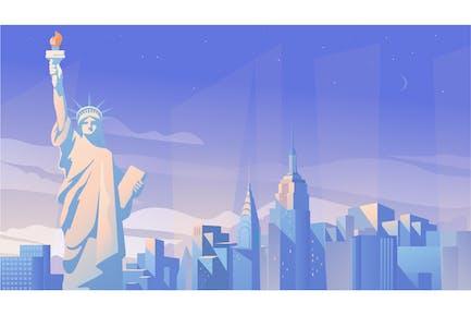 New York City Panorama - Illustration Background