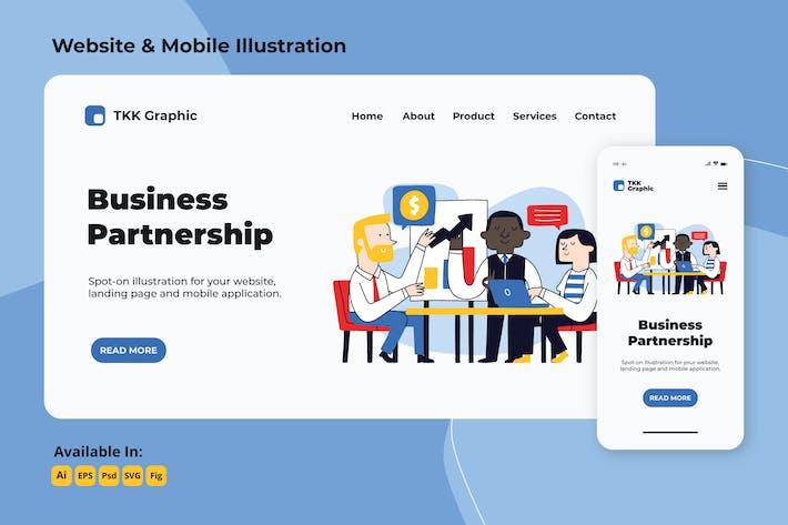 Thumbnail for Бизнес-партнерская страница и дизайн мобильных устройств