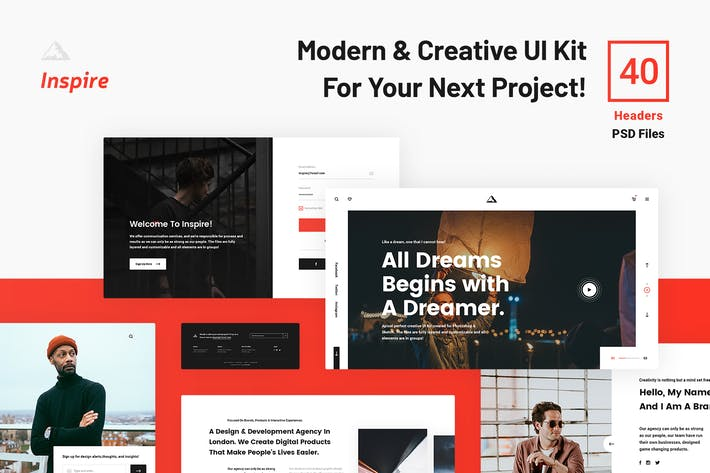 Thumbnail for inspire UI Kit - Headers PSD Web Sections