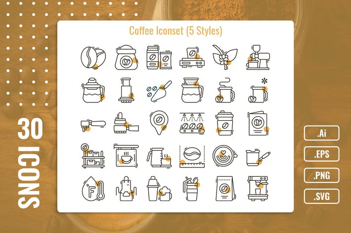 Thumbnail for 30 Iconset Coffee with 5 styles variant