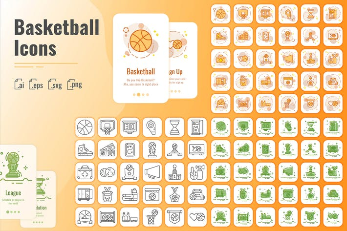Thumbnail for 30 Outline Iconset Basketball with 3 styles