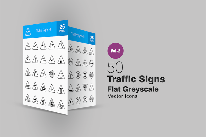 50 Traffic Signs Greyscale Icons