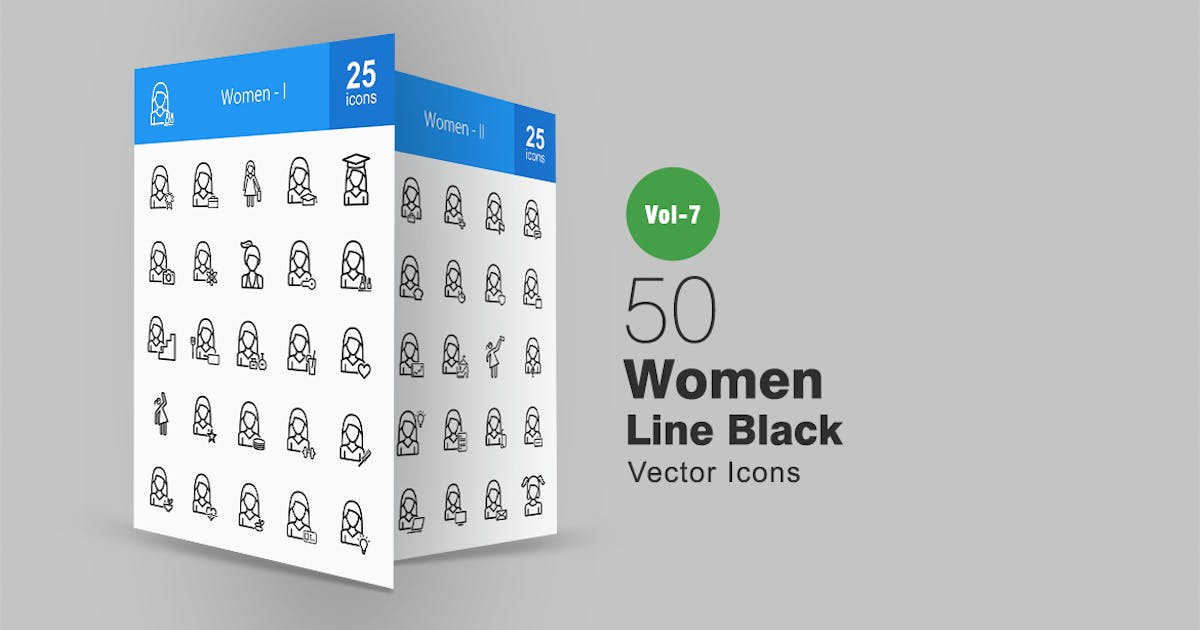 50 Women Line Icons by IconBunny