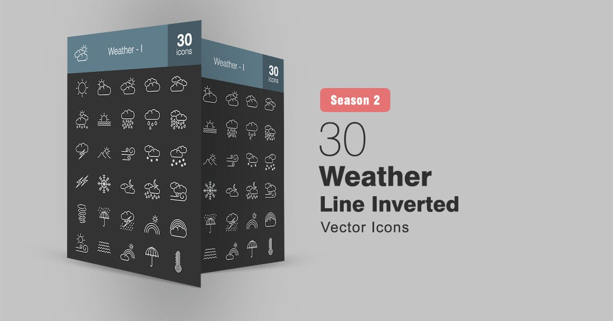 Download 30 Weather Line Inverted Icons Season II by IconBunny
