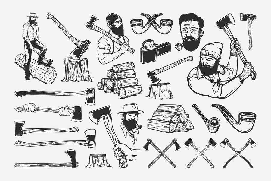 Набор чертежей лесорубов