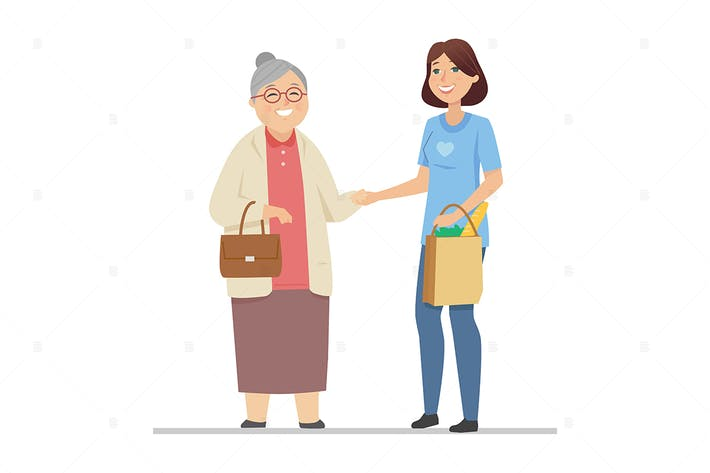 Volunteer helping senior woman - illustration