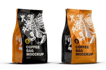 Mockup de sac à café métallique