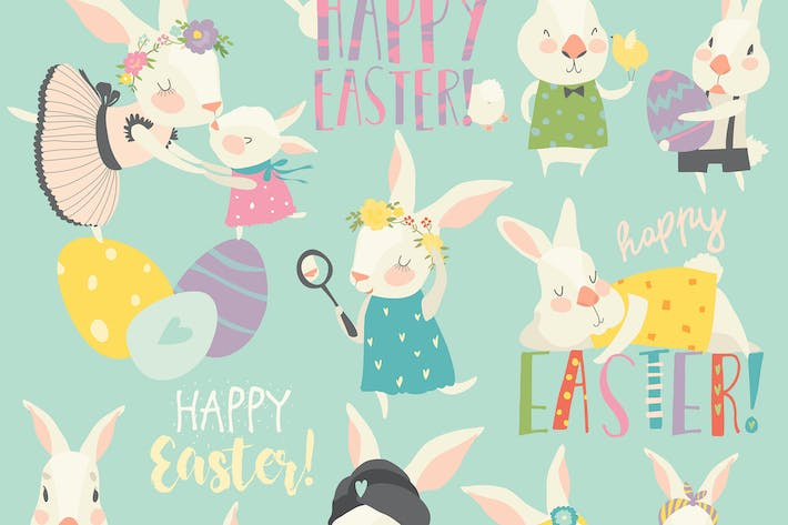 Thumbnail for Vector set cartoon illustration of cute rabbit and