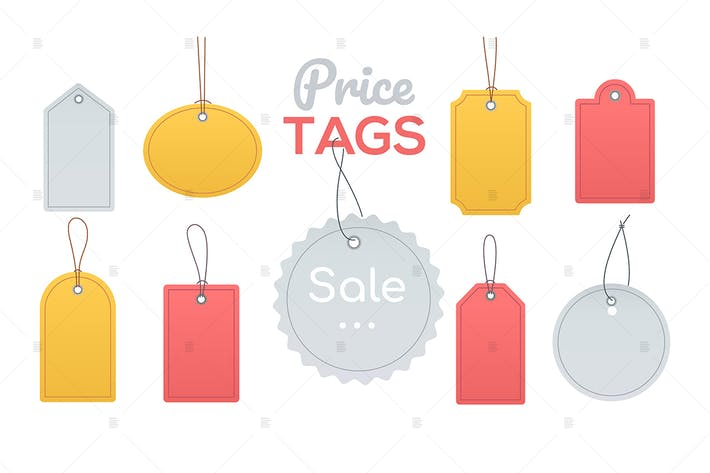 Thumbnail for Price tags collection - flat design style clip art