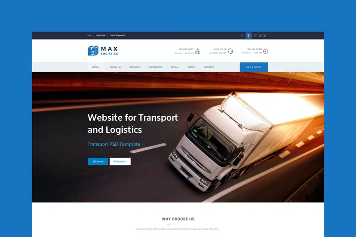 Thumbnail for Max Logistics - Transport & Logistics PSD Template