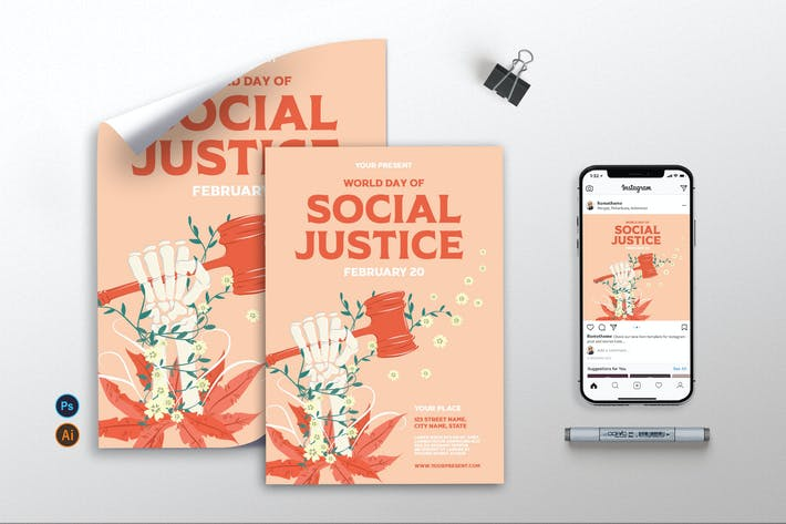 World Day of Social Justice v2 - Flyer, Poster AS