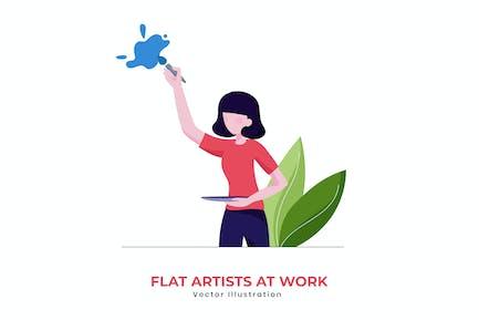 Ilustración Vector artista plano