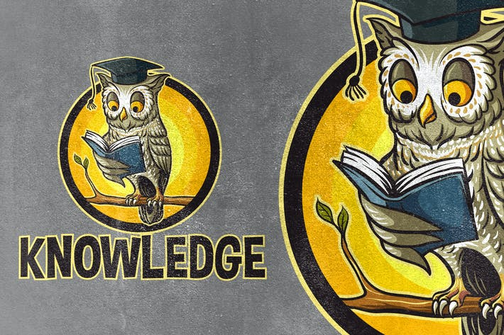 Thumbnail for Knowledge - Owl Reading Book Mascot Logo
