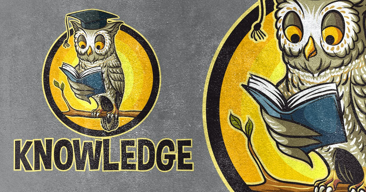 Download Knowledge - Owl Reading Book Mascot Logo by Suhandi