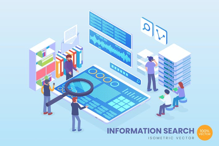 Thumbnail for Isometric Information Search Vector Concept