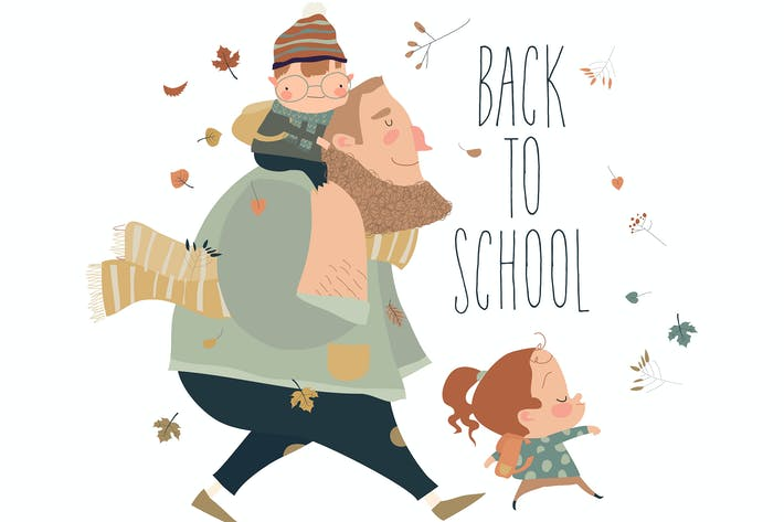 Thumbnail for Father with his happy kids going to the school.