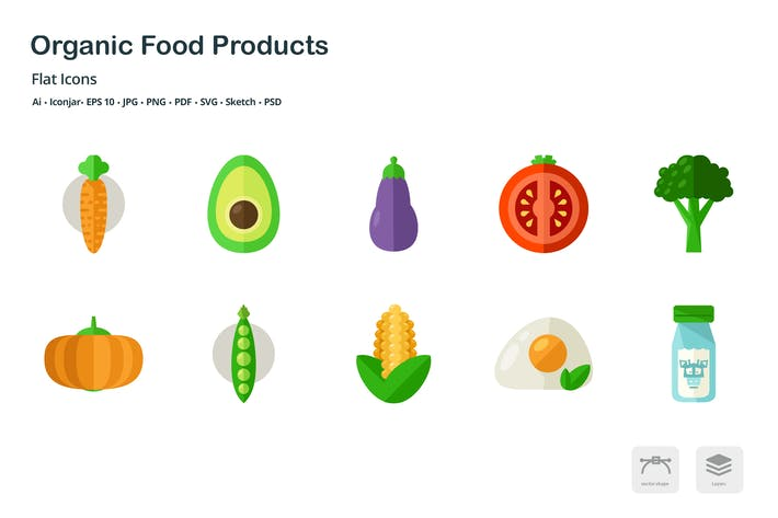 Thumbnail for Organic Food Products Flat Colored Icons