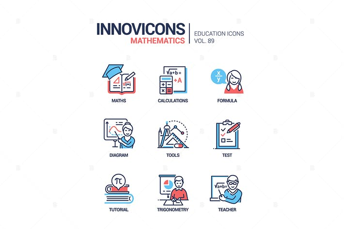 Thumbnail for Mathematics - vector line design style icons set