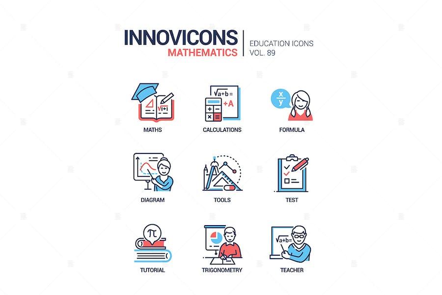Математика - набор Иконки стиля вектор линии