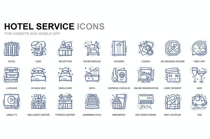Thumbnail for Hotel Services Thin Line Icons