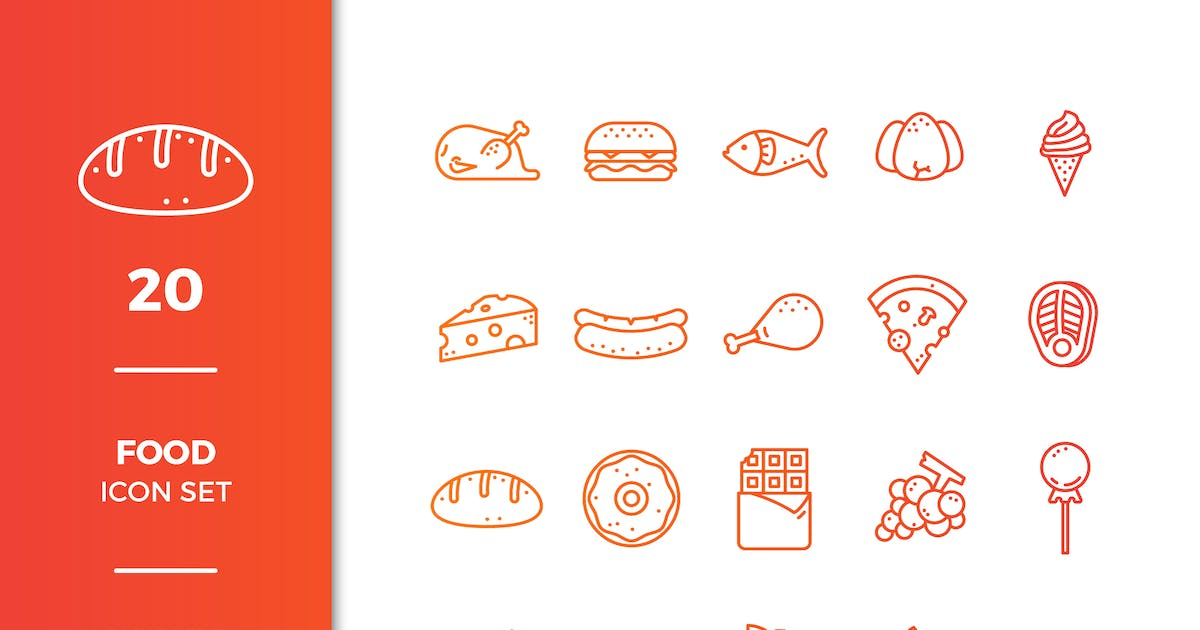 Download Food Icons Collection by EightonesixStudios