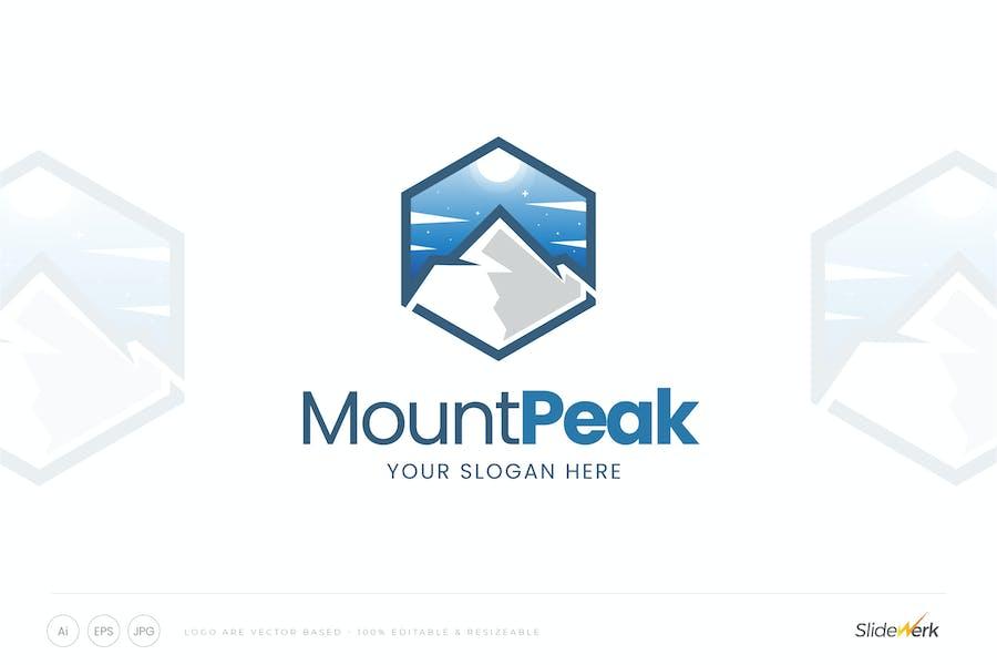 Hexagon Mountain Peak Logo Template