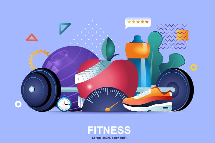 Fitness Flat Concept Vector Illustration