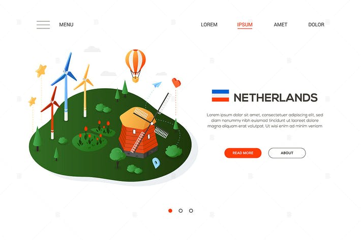 Thumbnail for Visit the Netherlands - colorful isometric banner