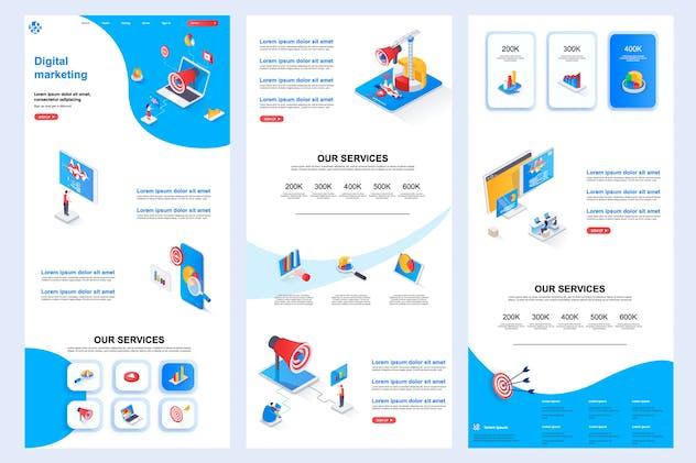 Digital Marketing Isometric Landing Page Template