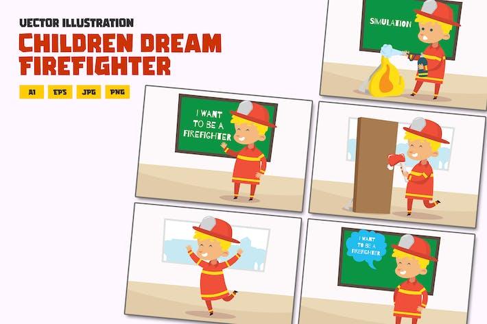 Kinder als Feuerwehrmann