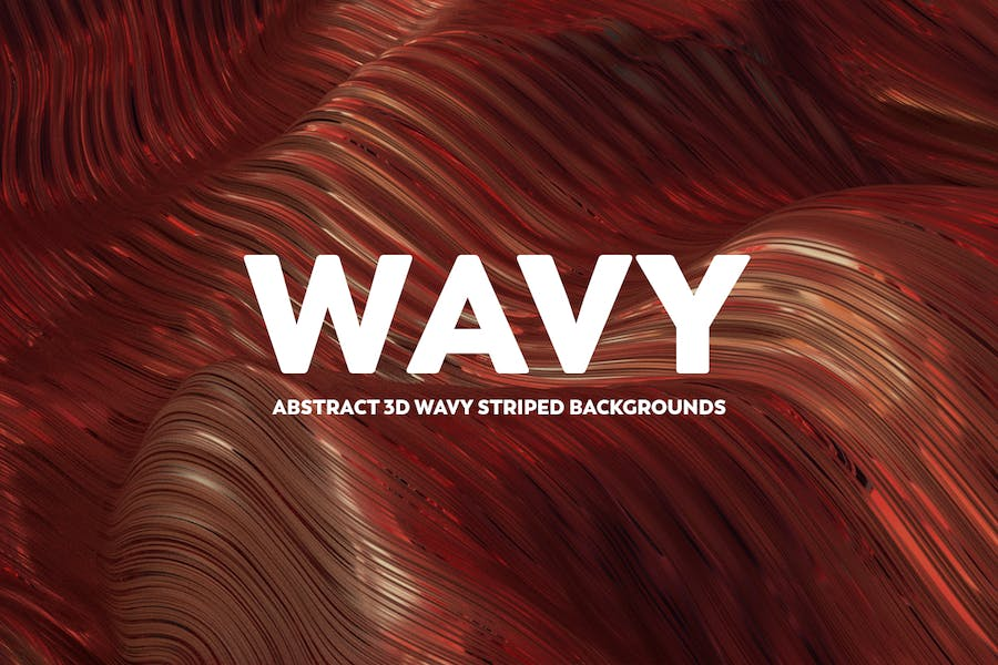 Abstract 3D Wavy Striped Backgrounds - Warm Colors
