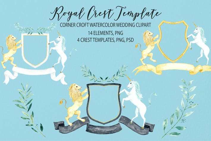 Thumbnail for Watercolor Royal Crest Template