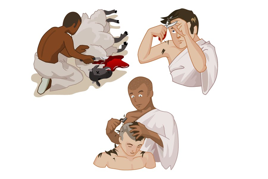 Hajj ritual and activity. Detailed vector illustra