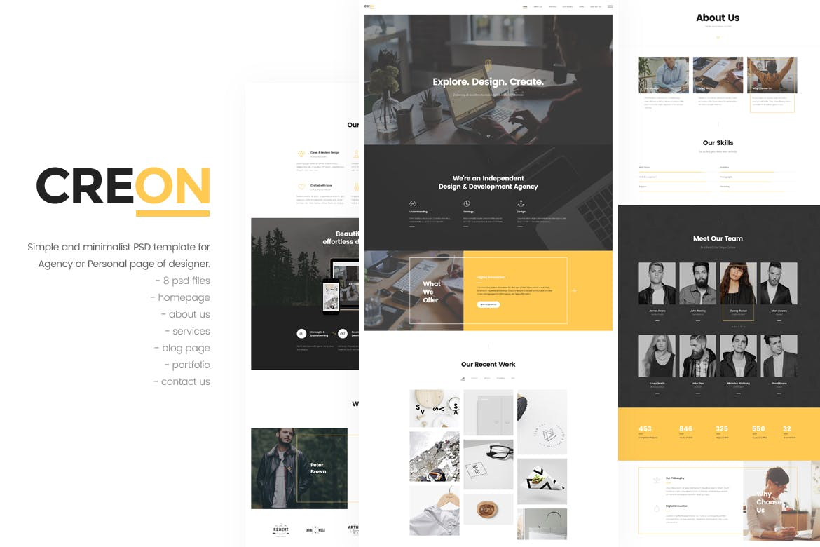 Creon - Agency PSD Template by upifix on Envato Elements