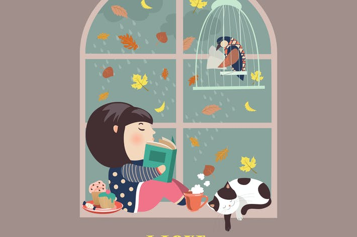 Thumbnail for Girl reading by the window. Vector illustration