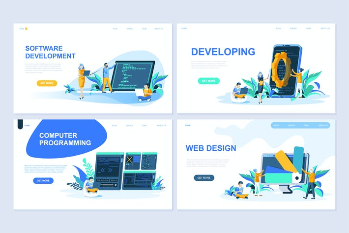 Thumbnail for Flat Design Concept Website Landing Page