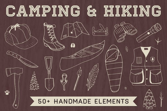 Thumbnail for Hand-Drawn Camping & Hiking Elements
