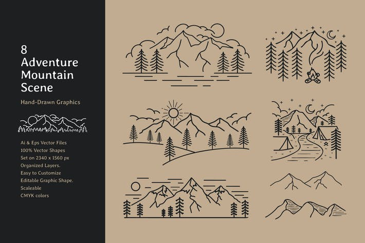 Mountain Camping Hand Drawn Scene