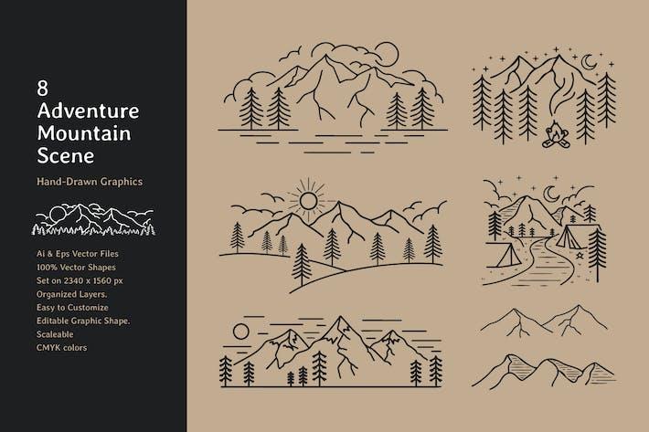 Camping de montaña dibujado a mano escena