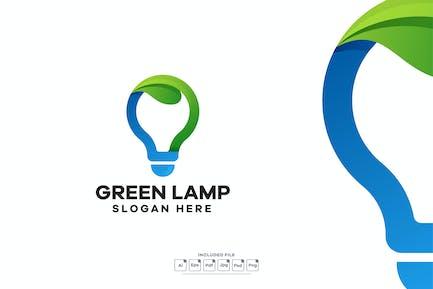 Green Lamp Gradient Logo Design