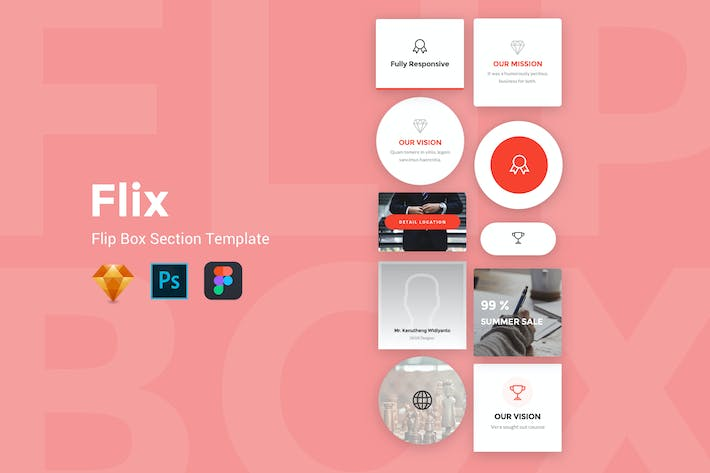 Cover Image For Flix - FlipBox Section UI Kit Templates