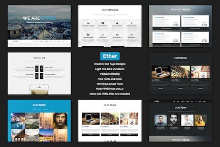 Ether - One Page Multipurpose MUSE Template