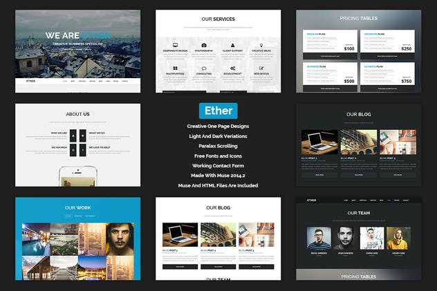 Ether - One Page Multipurpose MUSE Template - product preview 0