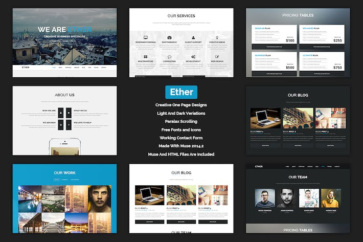 Cover Image For Ether - One Page Multipurpose MUSE Template