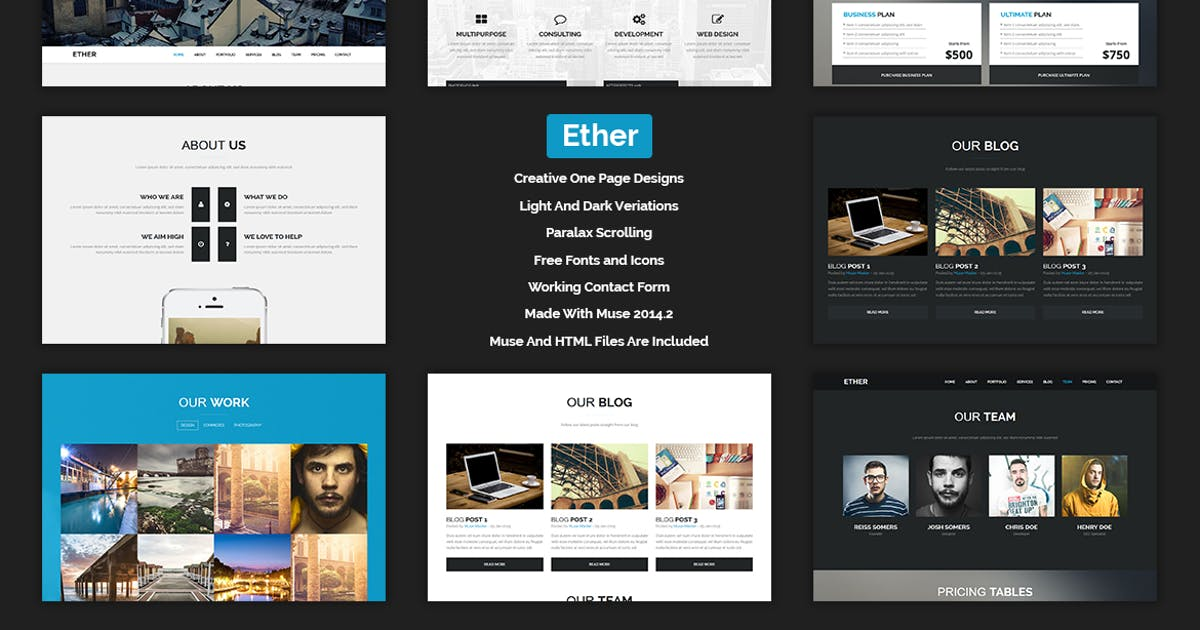 Ether - One Page Multipurpose MUSE Template by Muse-Master