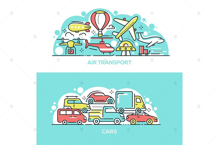 Thumbnail for Air transport and cars banners set
