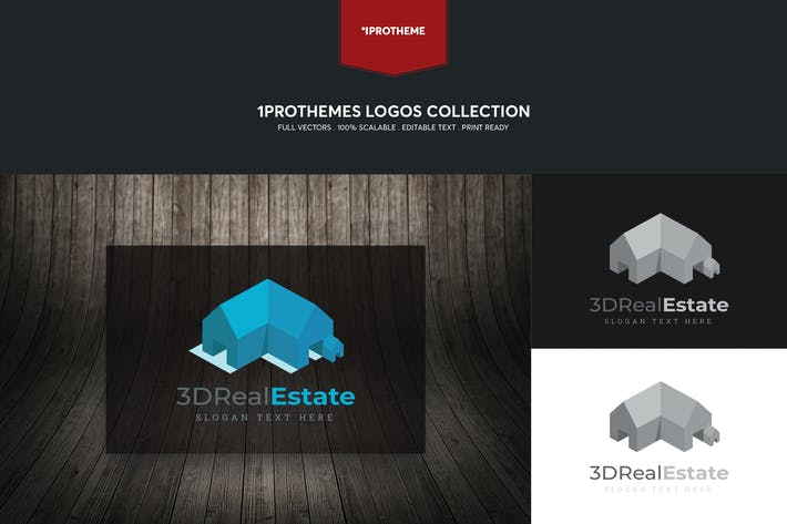 Thumbnail for 3D Real Estate Logo Template