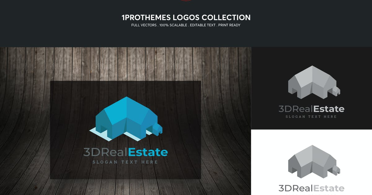Download 3D Real Estate Logo Template by 1protheme