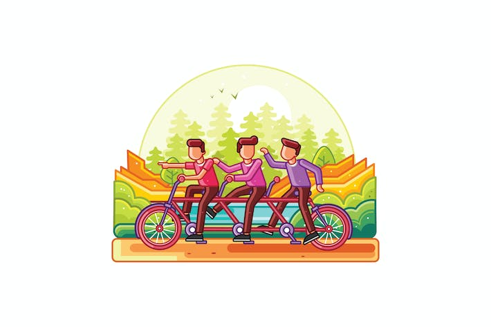 Thumbnail for Teamwork Riding Tandem Bicycle Line Illustration